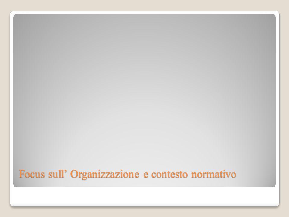Focus sull' Organizzazione e contesto normativo