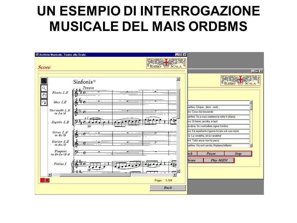 UN ESEMPIO DI INTERROGAZIONE MUSICALE DEL MAIS ORDBMS