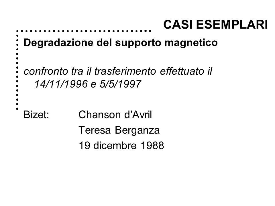 Degradazione del supporto magnetico confronto tra il trasferimento effettuato il 14/11/1996 e 5/5/1997 Bizet: Chanson d Avril Teresa Berganza 19 dicembre 1988 CASI ESEMPLARI