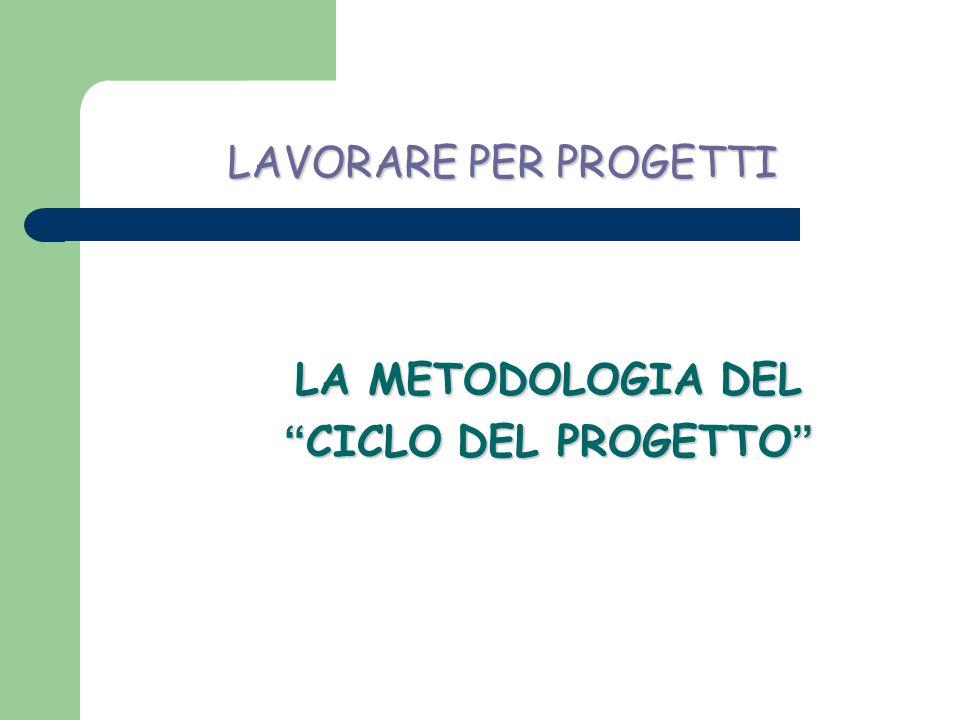 LAVORARE PER PROGETTI LA METODOLOGIA DEL CICLO DEL PROGETTO