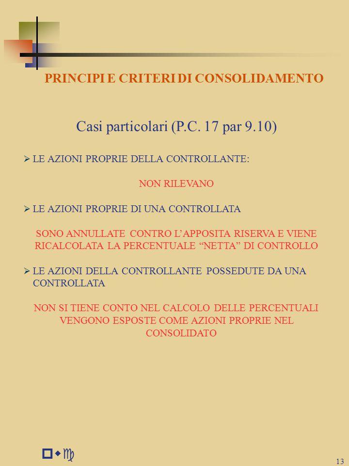 pwc 13 PRINCIPI E CRITERI DI CONSOLIDAMENTO Casi particolari (P.C.