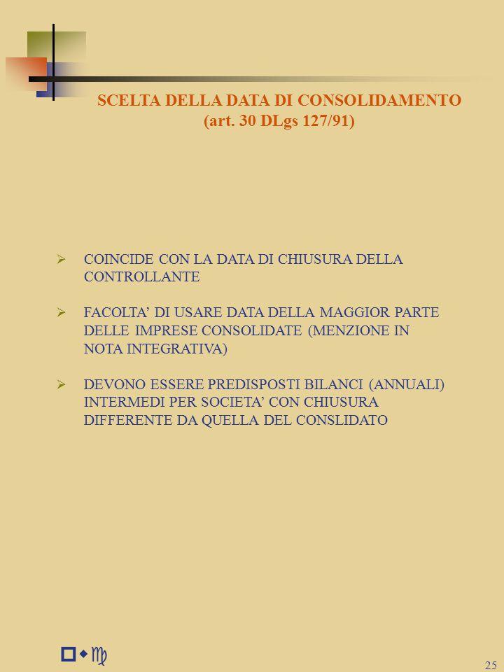 pwc 25 SCELTA DELLA DATA DI CONSOLIDAMENTO (art.