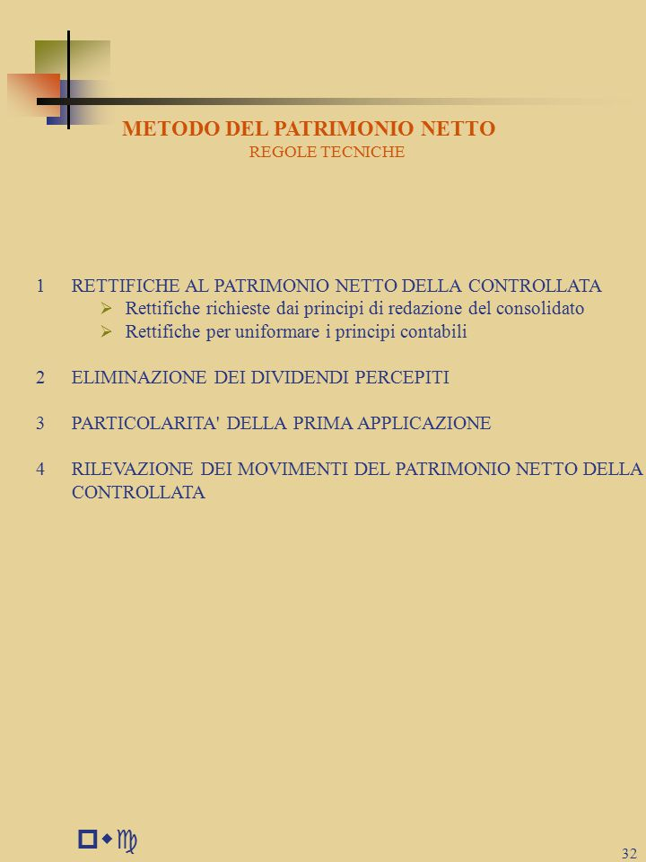 pwc 32 METODO DEL PATRIMONIO NETTO REGOLE TECNICHE 1RETTIFICHE AL PATRIMONIO NETTO DELLA CONTROLLATA  Rettifiche richieste dai principi di redazione del consolidato  Rettifiche per uniformare i principi contabili 2ELIMINAZIONE DEI DIVIDENDI PERCEPITI 3PARTICOLARITA DELLA PRIMA APPLICAZIONE 4RILEVAZIONE DEI MOVIMENTI DEL PATRIMONIO NETTO DELLA CONTROLLATA