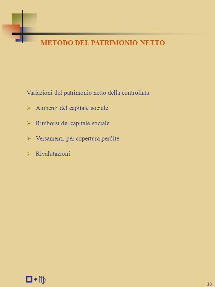 pwc 33 METODO DEL PATRIMONIO NETTO Variazioni del patrimonio netto della controllata:  Aumenti del capitale sociale  Rimborsi del capitale sociale  Versamenti per copertura perdite  Rivalutazioni