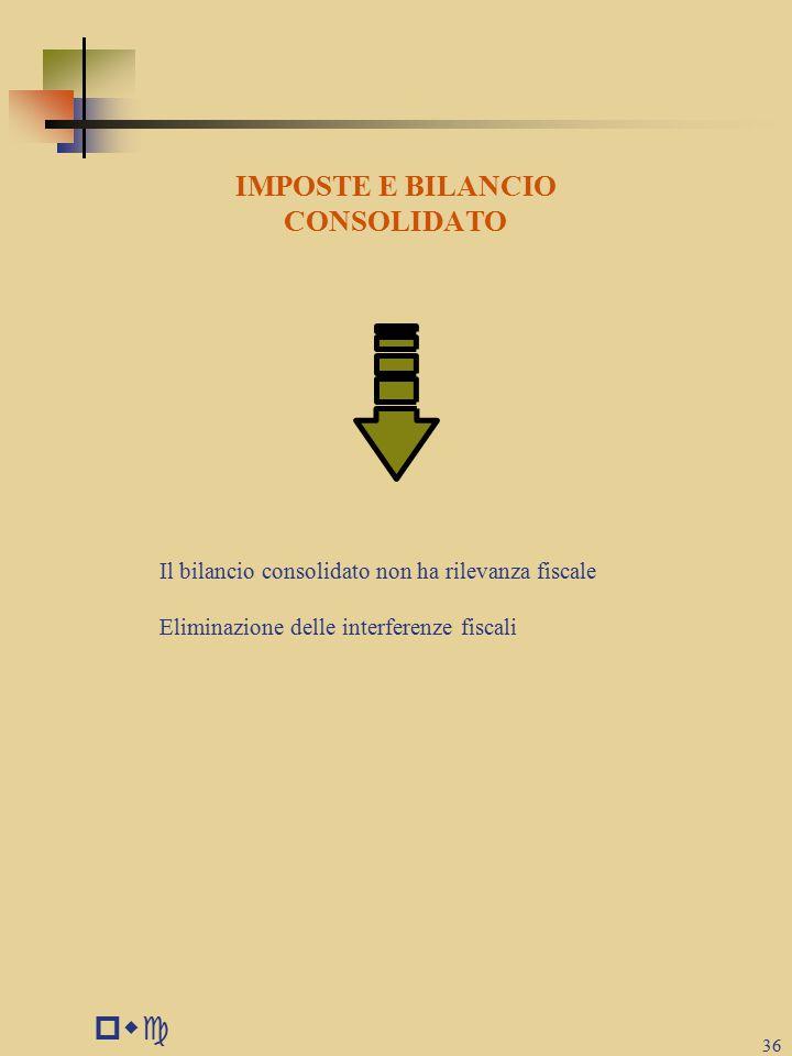 pwc 36 IMPOSTE E BILANCIO CONSOLIDATO Il bilancio consolidato non ha rilevanza fiscale Eliminazione delle interferenze fiscali