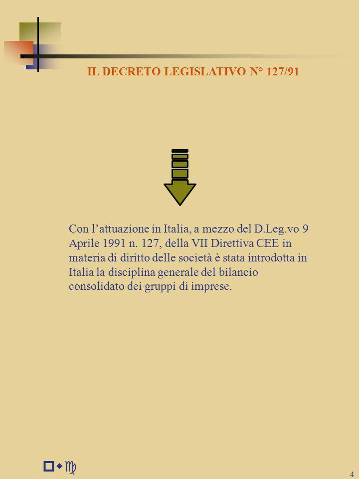 pwc 4 IL DECRETO LEGISLATIVO N° 127/91 Con l'attuazione in Italia, a mezzo del D.Leg.vo 9 Aprile 1991 n.