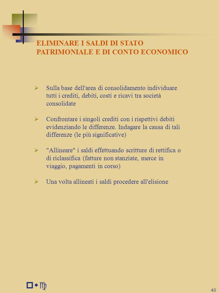 pwc 40  Sulla base dell area di consolidamento individuare tutti i crediti, debiti, costi e ricavi tra società consolidate  Confrontare i singoli crediti con i rispettivi debiti evidenziando le differenze.