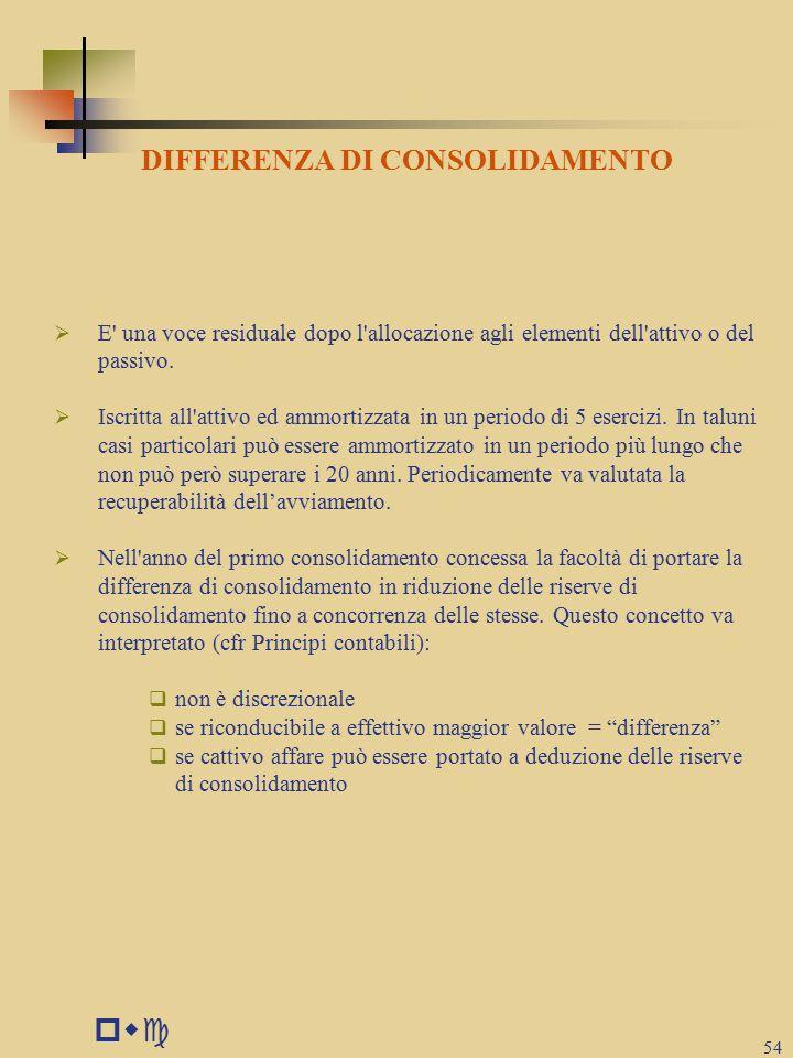 pwc 54 DIFFERENZA DI CONSOLIDAMENTO  E una voce residuale dopo l allocazione agli elementi dell attivo o del passivo.