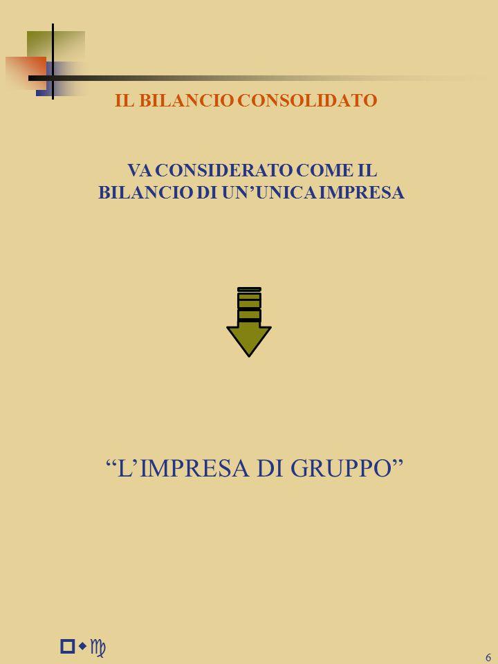 pwc 6 IL BILANCIO CONSOLIDATO VA CONSIDERATO COME IL BILANCIO DI UN'UNICA IMPRESA L'IMPRESA DI GRUPPO