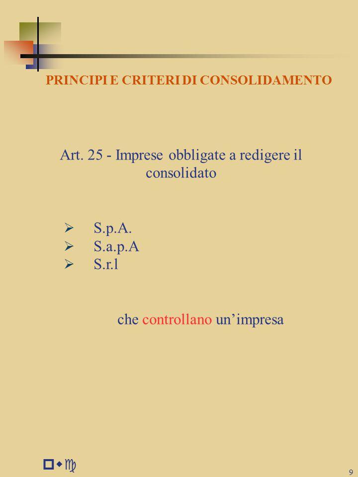 pwc 9 PRINCIPI E CRITERI DI CONSOLIDAMENTO Art.