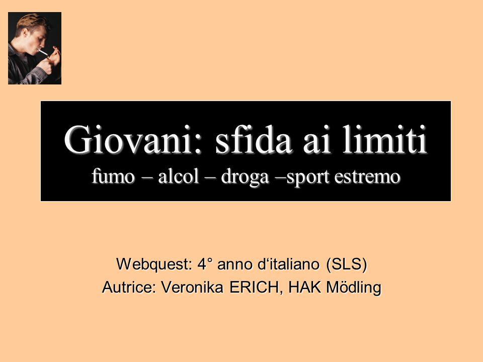 Giovani: sfida ai limiti fumo – alcol – droga –sport estremo Webquest: 4° anno d'italiano (SLS) Autrice: Veronika ERICH, HAK Mödling