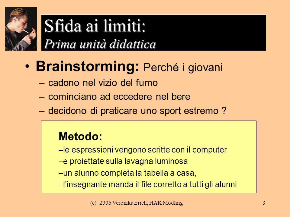 (c) 2006 Veronika Erich, HAK Mödling3 Sfida ai limiti: Prima unità didattica Brainstorming: Perché i giovani –cadono nel vizio del fumo –cominciano ad