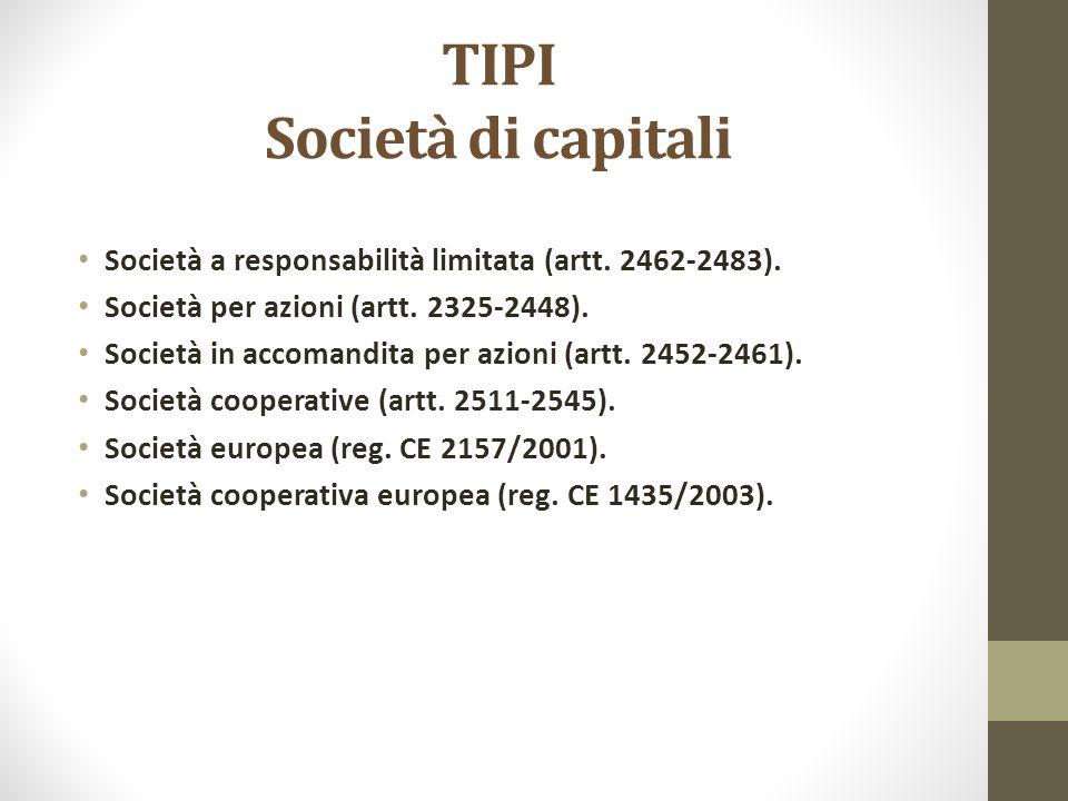TIPI Società di capitali Società a responsabilità limitata (artt. 2462-2483). Società per azioni (artt. 2325-2448). Società in accomandita per azioni