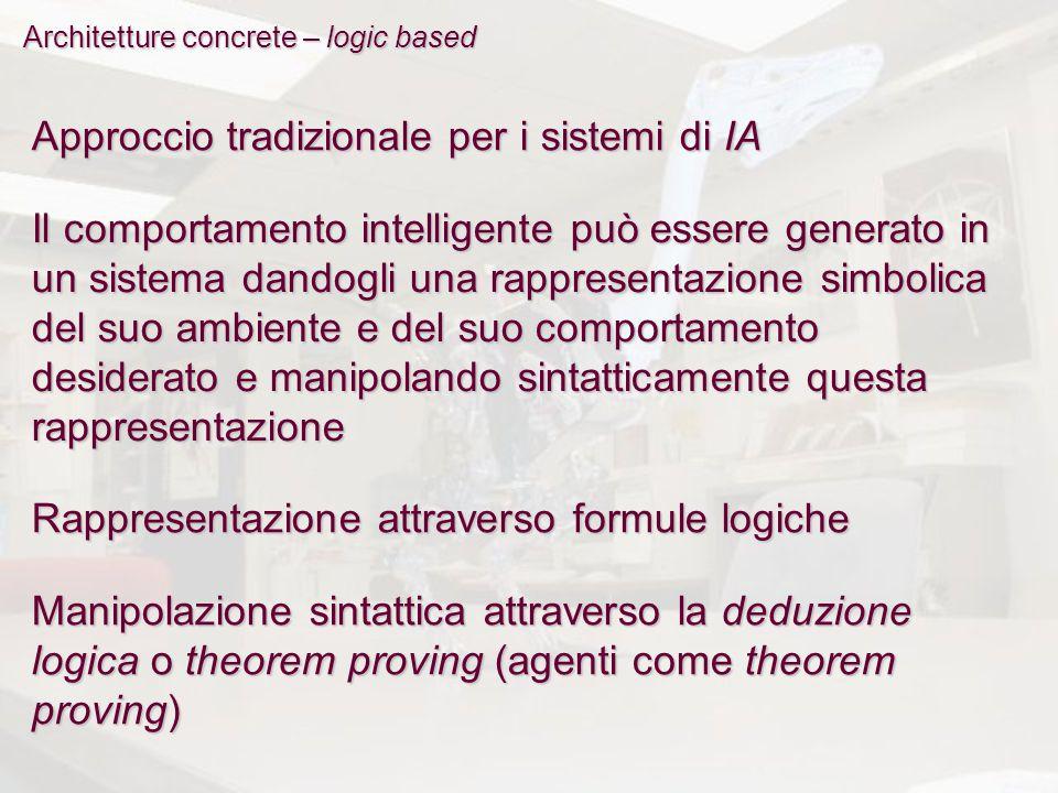 Architetture concrete – logic based Approccio tradizionale per i sistemi di IA Il comportamento intelligente può essere generato in un sistema dandogl