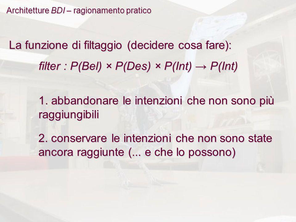 Architetture BDI – ragionamento pratico La funzione di filtaggio (decidere cosa fare): filter : P(Bel) × P(Des) × P(Int) → P(Int) 1.