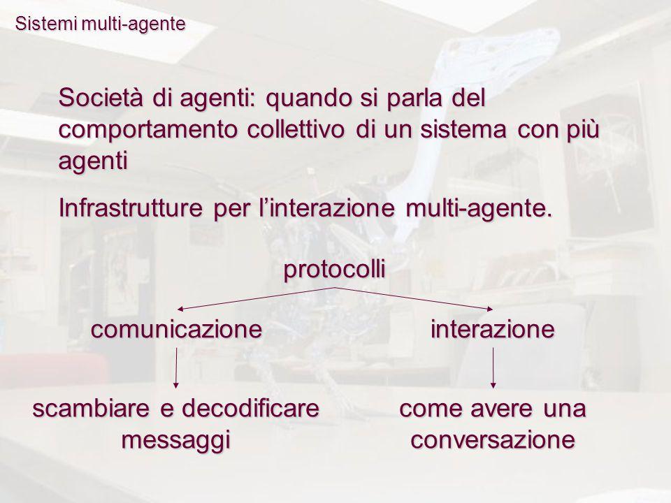 Sistemi multi-agente Società di agenti: quando si parla del comportamento collettivo di un sistema con più agenti Infrastrutture per l'interazione mul