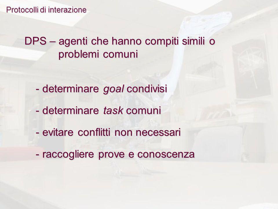 Protocolli di interazione DPS – agenti che hanno compiti simili o problemi comuni - determinare goal condivisi - determinare task comuni - evitare conflitti non necessari - raccogliere prove e conoscenza
