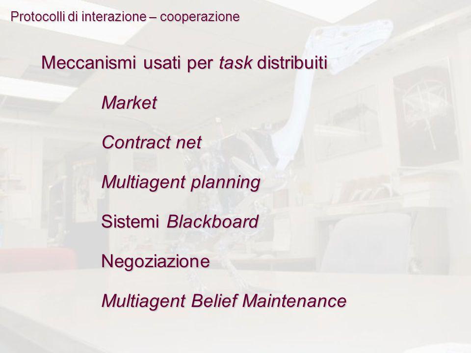 Protocolli di interazione – cooperazione Meccanismi usati per task distribuiti Market Contract net Multiagent planning Sistemi Blackboard Negoziazione Multiagent Belief Maintenance