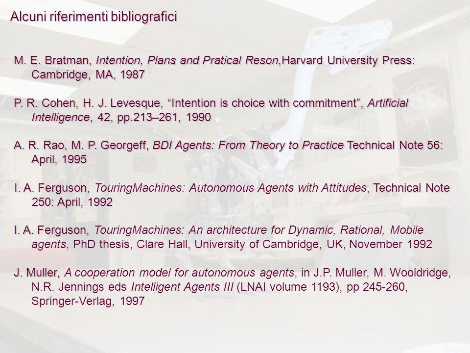 Alcuni riferimenti bibliografici M. E.Bratman, Intention, Plans and Pratical Reson,Harvard University Press: Cambridge, MA, 1987 M. E. Bratman, Intent