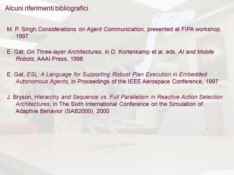 Alcuni riferimenti bibliografici M. P. Singh,Considerations on Agent Communication, presented at FIPA workshop, 1997 E. Gat, On Three-layer Architectu