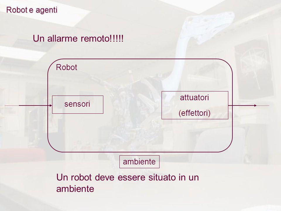 Robot e agenti Robot Un allarme remoto!!!!! Un robot deve essere situato in un ambiente attuatori (effettori) sensori ambiente