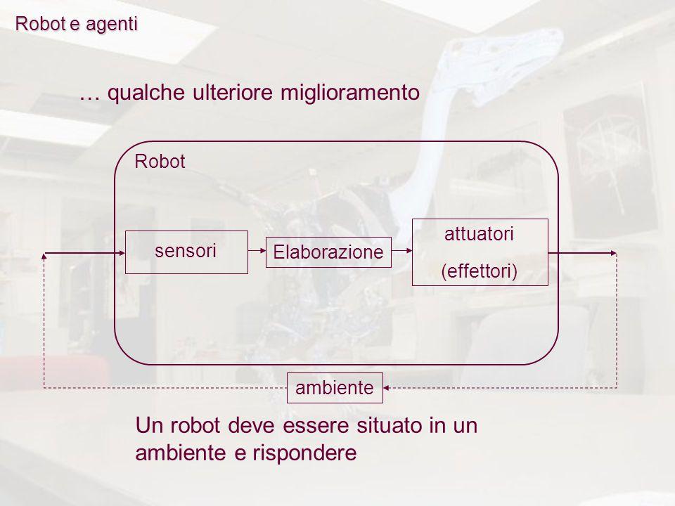 Robot: Robot e agenti persistono nell'ambiente persistono nell'ambiente percepiscono e agiscono percepiscono e agiscono nello stesso ambiente (situatedness) nello stesso ambiente (situatedness) rispondono con azioni rispondono con azioni AmbienteRobot