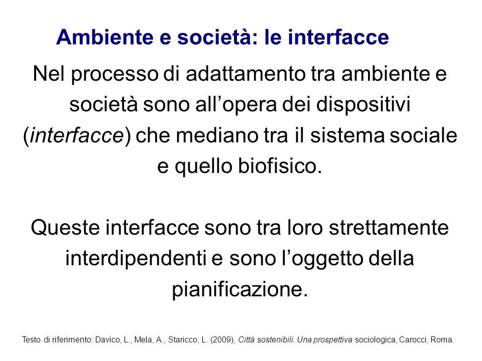Nel processo di adattamento tra ambiente e società sono all'opera dei dispositivi (interfacce) che mediano tra il sistema sociale e quello biofisico.