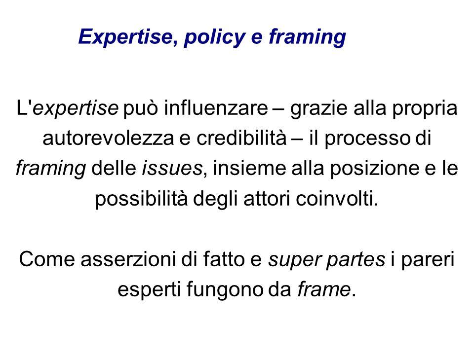 L'expertise può influenzare – grazie alla propria autorevolezza e credibilità – il processo di framing delle issues, insieme alla posizione e le possi