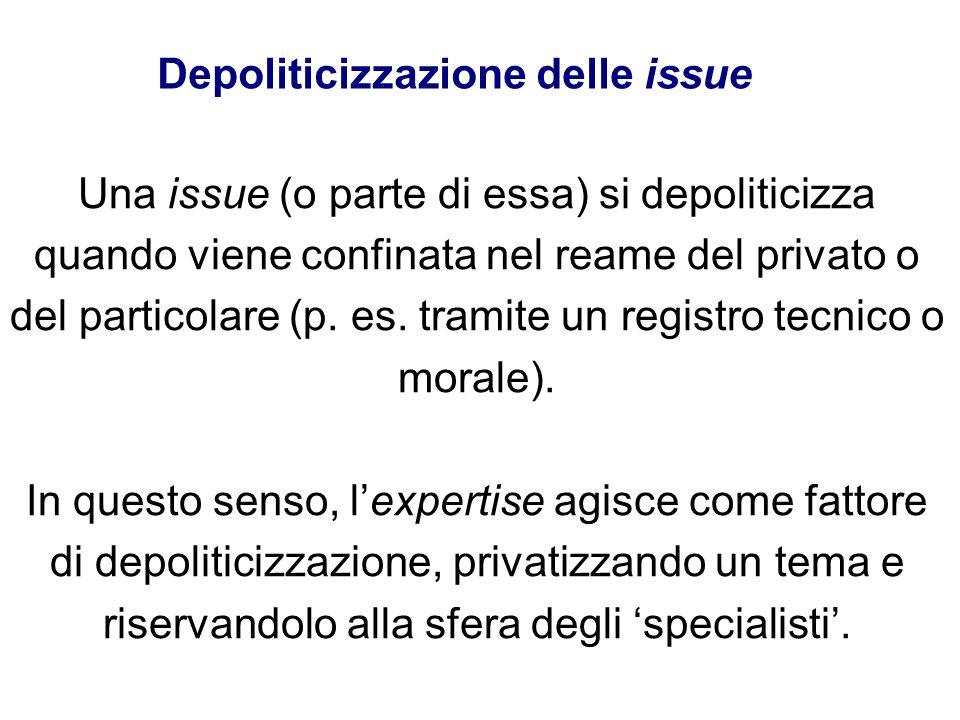 Una issue (o parte di essa) si depoliticizza quando viene confinata nel reame del privato o del particolare (p. es. tramite un registro tecnico o mora