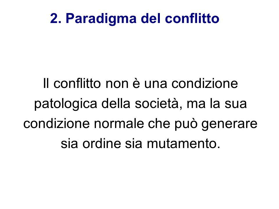 Il conflitto non è una condizione patologica della società, ma la sua condizione normale che può generare sia ordine sia mutamento. 2. Paradigma del c