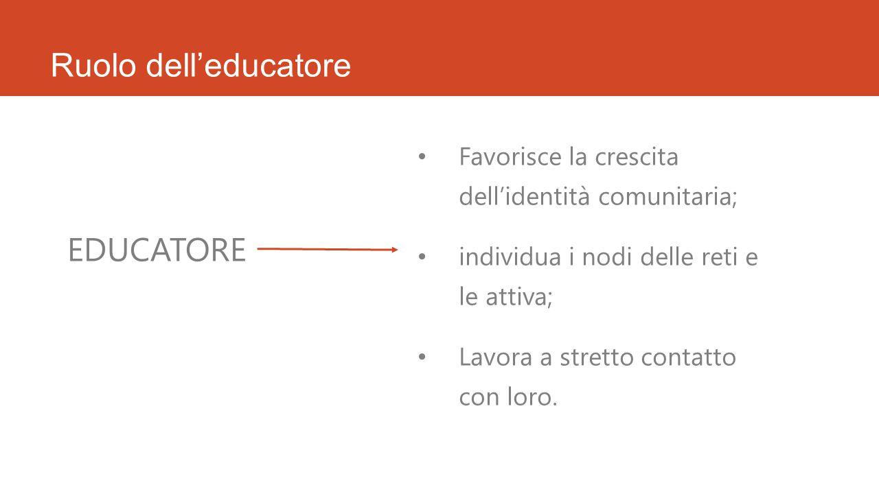 Ruolo dell'educatore EDUCATORE Favorisce la crescita dell'identità comunitaria; individua i nodi delle reti e le attiva; Lavora a stretto contatto con