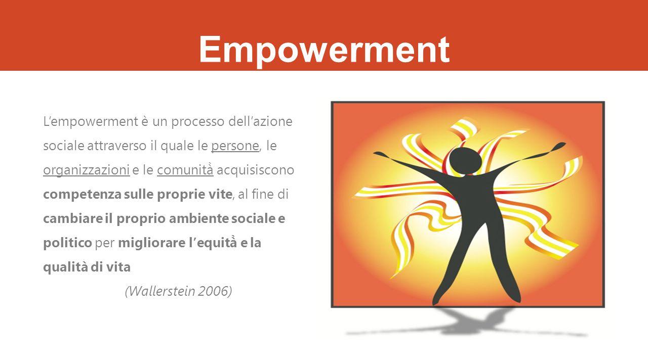 Empowerment L'empowerment è un processo dell'azione sociale attraverso il quale le persone, le organizzazioni e le comunità̀ acquisiscono competenza sulle proprie vite, al fine di cambiare il proprio ambiente sociale e politico per migliorare l'equità̀ e la qualità di vita (Wallerstein 2006)