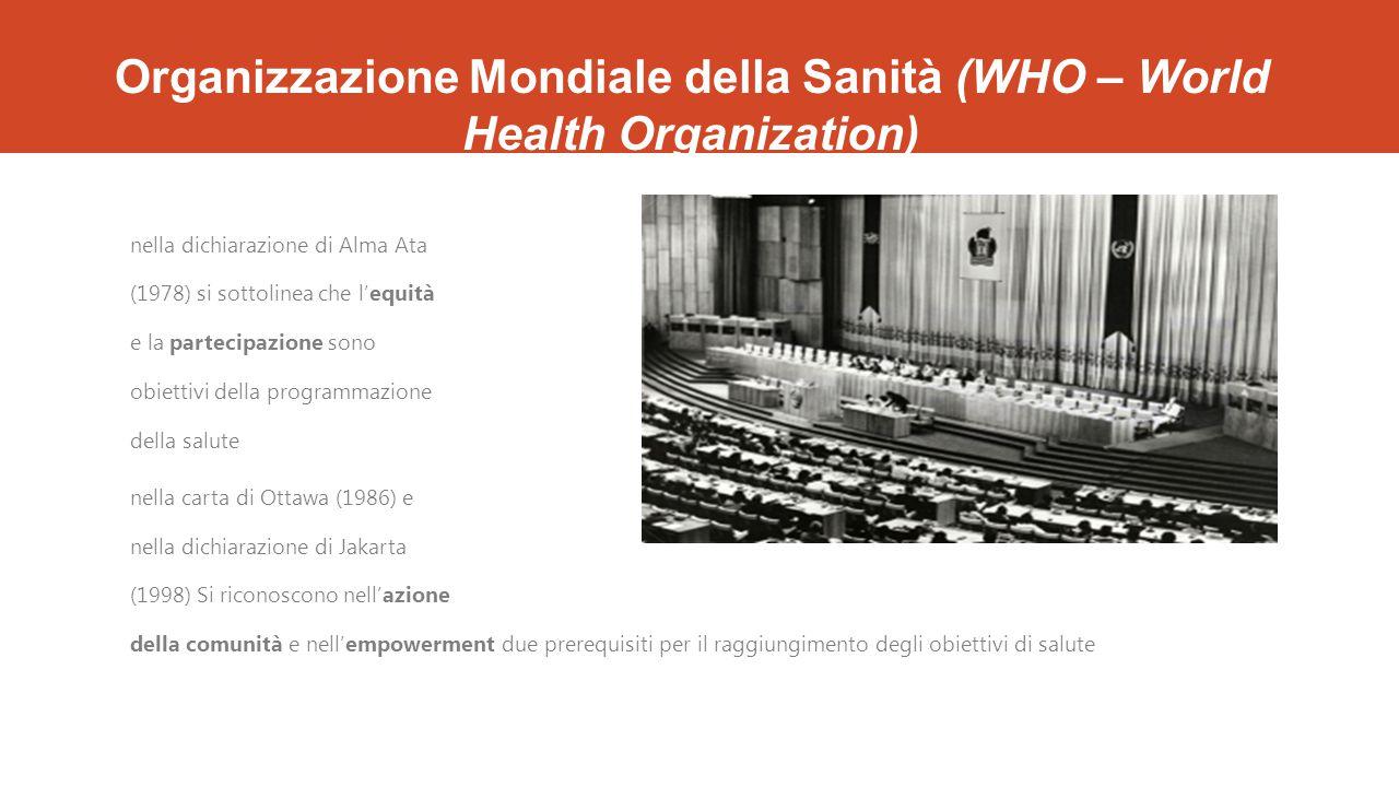Organizzazione Mondiale della Sanità (WHO – World Health Organization) nella dichiarazione di Alma Ata (1978) si sottolinea che l'equità e la partecipazione sono obiettivi della programmazione della salute nella carta di Ottawa (1986) e nella dichiarazione di Jakarta (1998) Si riconoscono nell'azione della comunità e nell'empowerment due prerequisiti per il raggiungimento degli obiettivi di salute