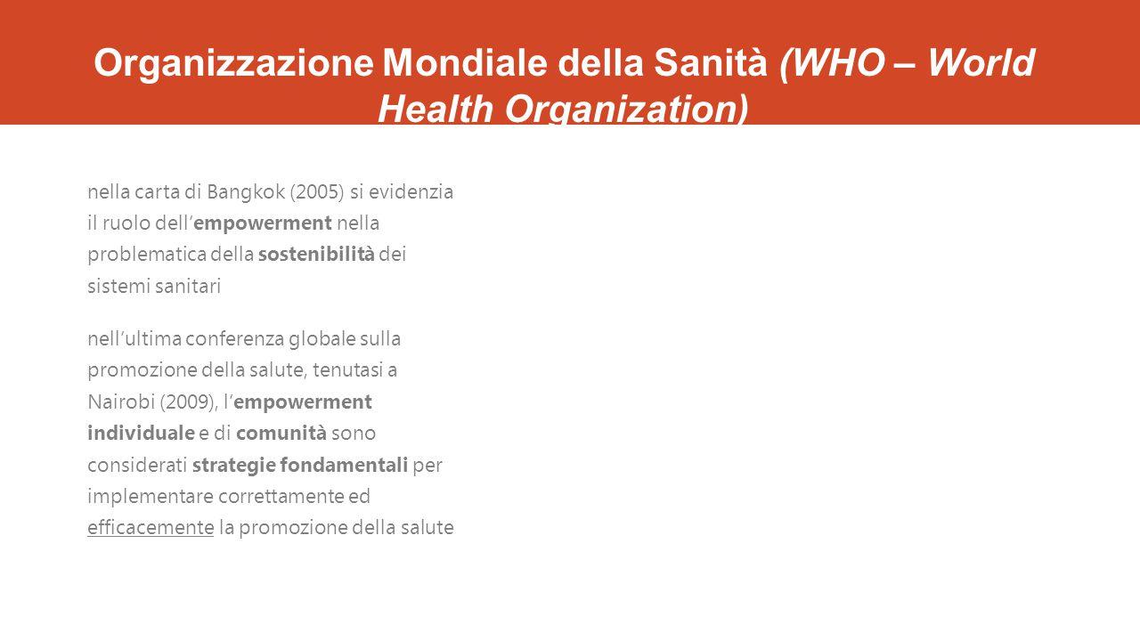 Organizzazione Mondiale della Sanità (WHO – World Health Organization) nella carta di Bangkok (2005) si evidenzia il ruolo dell'empowerment nella prob