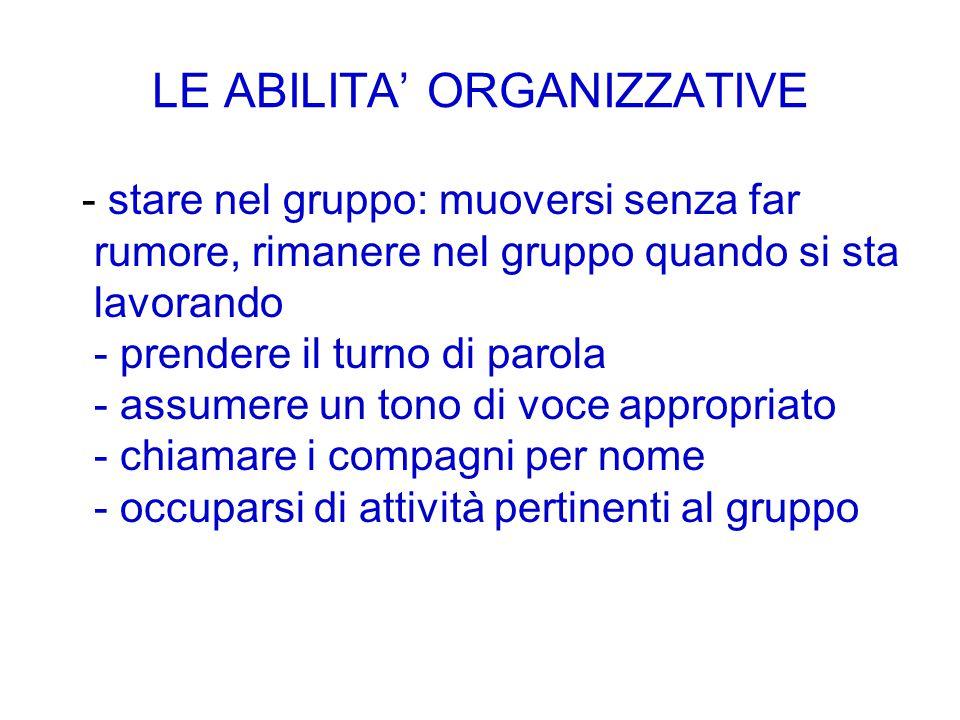 LE ABILITA' ORGANIZZATIVE - stare nel gruppo: muoversi senza far rumore, rimanere nel gruppo quando si sta lavorando - prendere il turno di parola - a