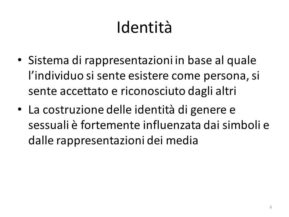 Identità Sistema di rappresentazioni in base al quale l'individuo si sente esistere come persona, si sente accettato e riconosciuto dagli altri La costruzione delle identità di genere e sessuali è fortemente influenzata dai simboli e dalle rappresentazioni dei media 4