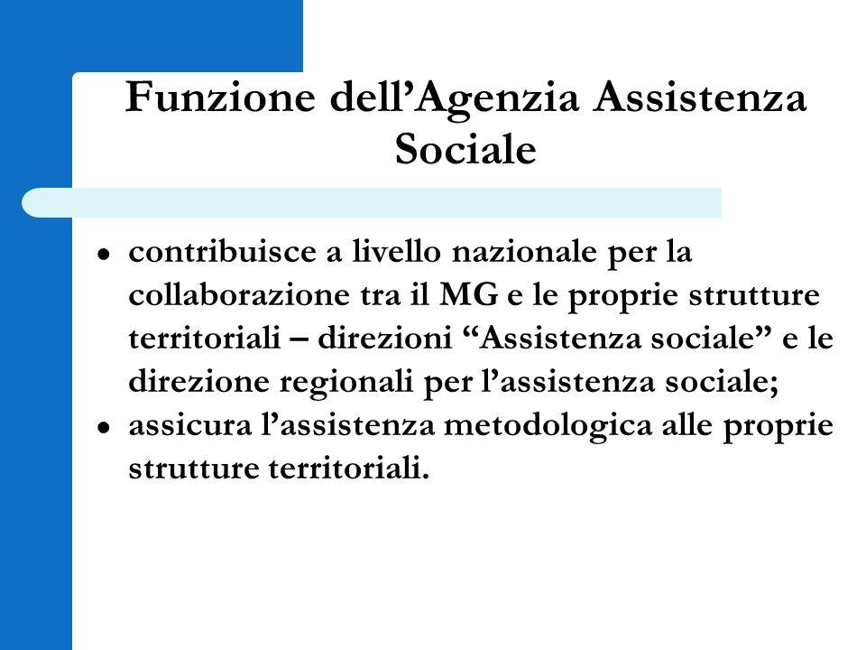 Funzione dell'Agenzia Assistenza Sociale ● contribuisce a livello nazionale per la collaborazione tra il MG e le proprie strutture territoriali – dire
