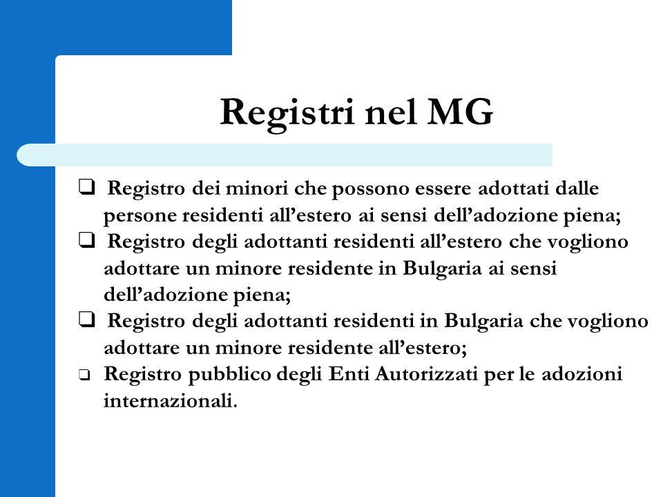 Registri nel MG ❑ Registro dei minori che possono essere adottati dalle persone residenti all'estero ai sensi dell'adozione piena; ❑ Registro degli ad