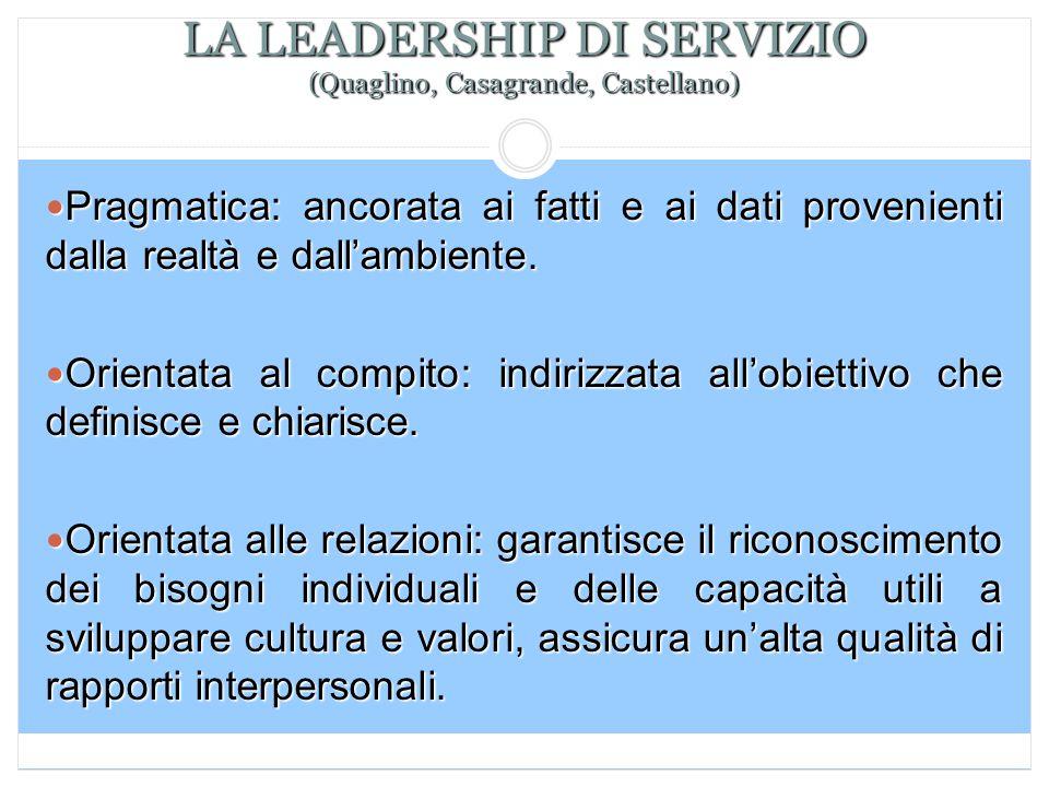 LA LEADERSHIP DI SERVIZIO (Quaglino, Casagrande, Castellano) Pragmatica: ancorata ai fatti e ai dati provenienti dalla realtà e dall'ambiente. Pragmat