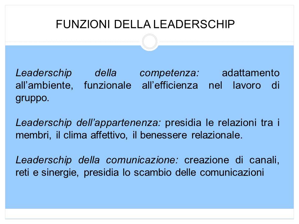 FUNZIONI DELLA LEADERSCHIP Leaderschip della competenza: adattamento all'ambiente, funzionale all'efficienza nel lavoro di gruppo. Leaderschip dell'ap