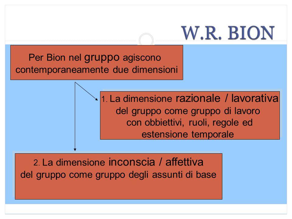 Per Bion nel gruppo agiscono contemporaneamente due dimensioni 1. La dimensione razionale / lavorativa del gruppo come gruppo di lavoro con obbiettivi