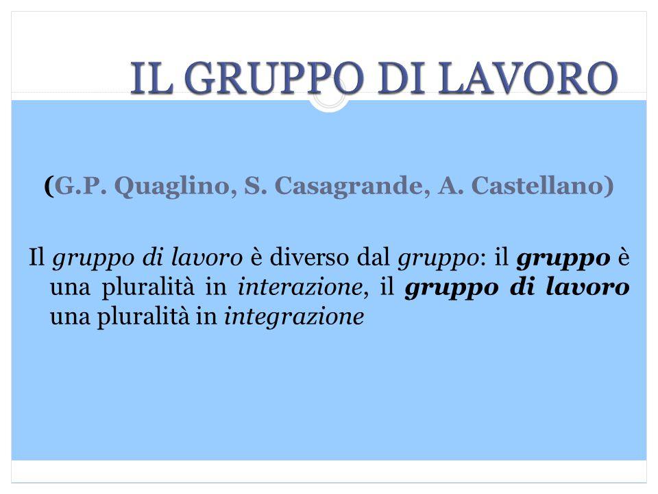 (G.P. Quaglino, S. Casagrande, A. Castellano) Il gruppo di lavoro è diverso dal gruppo: il gruppo è una pluralità in interazione, il gruppo di lavoro