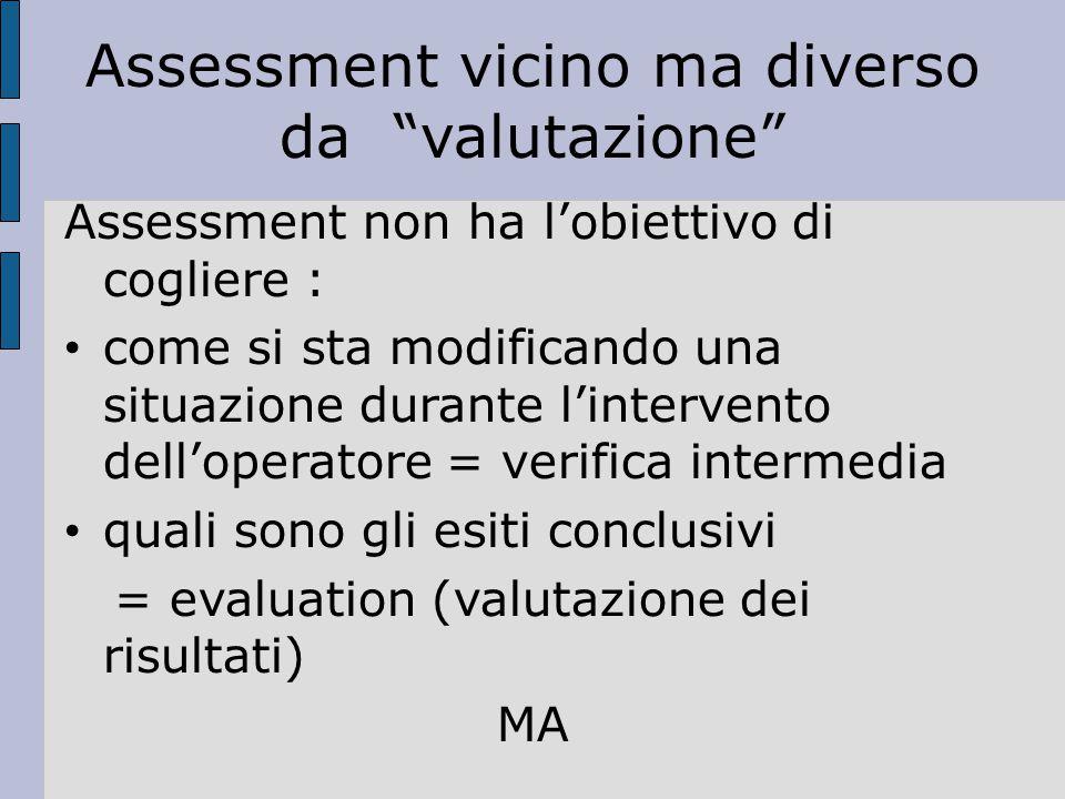 Assessment vicino ma diverso da valutazione Assessment non ha l'obiettivo di cogliere : come si sta modificando una situazione durante l'intervento dell'operatore = verifica intermedia quali sono gli esiti conclusivi = evaluation (valutazione dei risultati) MA