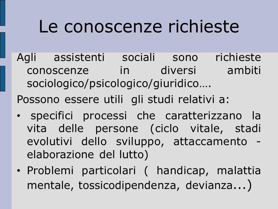 Le conoscenze richieste Agli assistenti sociali sono richieste conoscenze in diversi ambiti sociologico/psicologico/giuridico…. Possono essere utili g