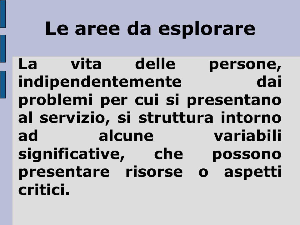 Le aree da esplorare La vita delle persone, indipendentemente dai problemi per cui si presentano al servizio, si struttura intorno ad alcune variabili