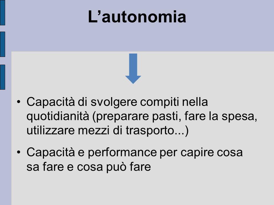 L'autonomia Capacità di svolgere compiti nella quotidianità (preparare pasti, fare la spesa, utilizzare mezzi di trasporto...) Capacità e performance