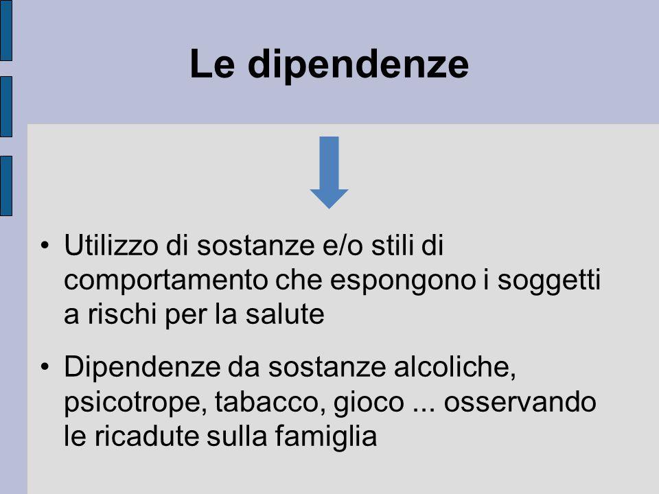 Le dipendenze Utilizzo di sostanze e/o stili di comportamento che espongono i soggetti a rischi per la salute Dipendenze da sostanze alcoliche, psicotrope, tabacco, gioco...