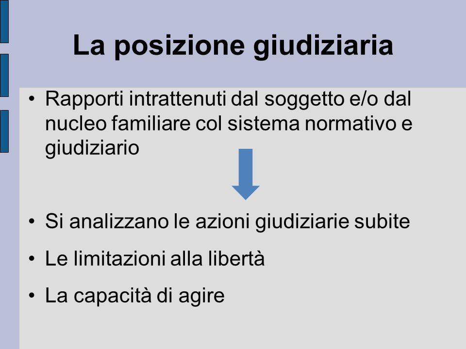La posizione giudiziaria Rapporti intrattenuti dal soggetto e/o dal nucleo familiare col sistema normativo e giudiziario Si analizzano le azioni giudiziarie subite Le limitazioni alla libertà La capacità di agire
