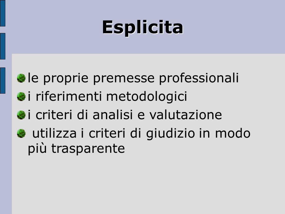 Esplicita le proprie premesse professionali i riferimenti metodologici i criteri di analisi e valutazione utilizza i criteri di giudizio in modo più t