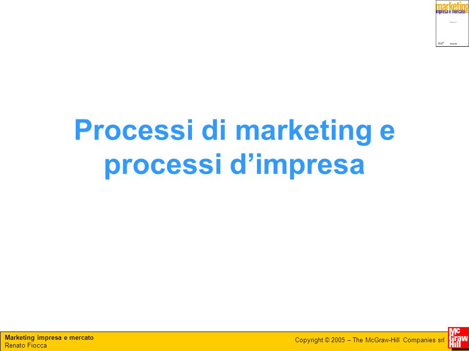Marketing impresa e mercato Renato Fiocca Copyright © 2005 – The McGraw-Hill Companies srl Processi di marketing e processi d'impresa